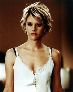 """Meg Ryan. Oh my Meggie. This style is so cute on her. It was her defining haircut just like the Rachael was for Jennifer. This is the """"girl next door"""" haircut."""