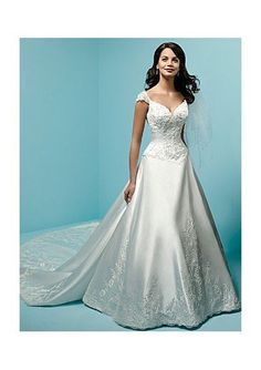 cba6896f407 Satin Sweetheart with Cap Sleeves and A-Line Skirt Floor Length Skirt in  Detachable Semi Cathedral Train Wedding Dress