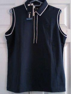 Adidas ClimaCool Women's Golf Shirt, Navy Blue/White, Sleeveless, XL, NWT #Adidas #GolfShirt