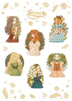 Sweet girl on Behance (art by Senny) Character Illustration, Art And Illustration, Illustrations, Cartoon Art Styles, Cute Art Styles, Dibujos Cute, Art Design, Aesthetic Art, Cute Stickers