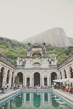 This is the Parque Lage, in the Jardim Botânico neighborhood in Rio de Janeiro, Brazil. In building works the School of Visual Arts of Parque Lage. Places Around The World, Oh The Places You'll Go, Places To Travel, Places To Visit, Around The Worlds, Travel Things, Travel Stuff, Travel Destinations, Dream Vacations