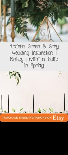 Botanical illustration Green & Grey Wedding inspiration perfect for a modern garden wedding or an urban wedding dripping with greenery. Palette of greens - emerald and sage. Earthy and organic with clean, modern touches. Bridesmaid dresses #BridesmaidDressesBeach #BridesmaidDressesVintage #WhiteBridesmaidDresses #BridesmaidDressesBoho #VelvetBridesmaidDresses