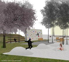 Lena Sionti - Kalliopi Chourmouziadou architects, 2nd prize at the architectural competition for the redesign of Pyrros square at Ioannina, Greece. Kids friendly urban design, natural elements, playscape, environmental design.