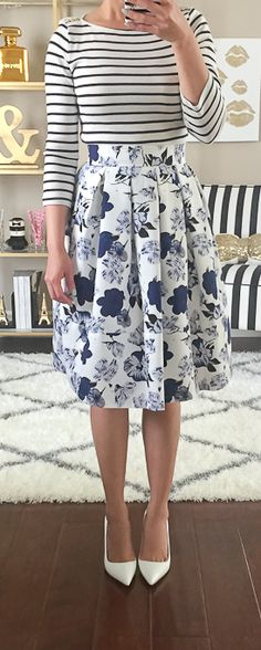 STYLISH PETITE x Goodnight Macaroon www.goodnightmacaroon.co Floral Midi Skirt Outfit ideas