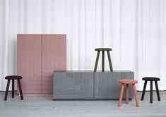 DOT AND ILLUSION. A cabinet, sideboard and stools custom designed for an exhibition for Kvadrat in Stockholm | LILJA LÖWENHIELM DESIGN