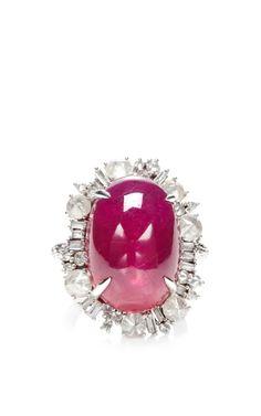One Of A Kind Ruby & Diamond Multi Shape Ring by Nina Runsdorf for Preorder on Moda Operandi