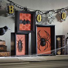 Showcase some creepy crawlers on your mantel this Halloween. This trio of creepy shadow boxes is sure to make your skin crawl.