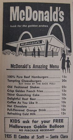 McDonald's Menu 1962 Ad by hmdavid, via Flickr