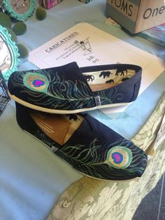 send me any shoes,peacock feathers hand painted by ArtfulSoles, $65.00