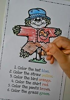 Following Directions Color Sheet     not free but easily could make with coloring pages