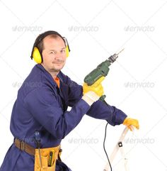 Buy Worker standing with green drill. by indigolotos on PhotoDune. Worker standing with green drill. Hammer Drill, Author, Stock Photos, Search, Green, Searching, Writers