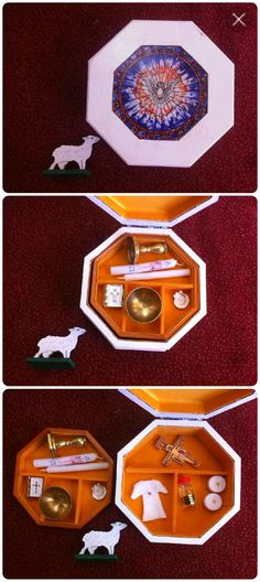 Following the guidelines for traditional Montessori object boxes, these baptism nomenclature materials for the Toddler Atrium were profiled at the New Child, New Adult event celebrating the 60th Anniversary of the Catechesis of the Good Shepherd internationally.  The small sheep from the Good Shepherd work is included for scale only.  Add photograph cards for object to abstract image matching.