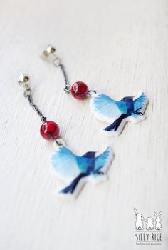 Blue decals bird porcelain earrings ceramic bird by SillyRice, £12.00