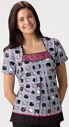Scrubs - Cherokee 100% Cotton Hello Kitty Expressions Square Neck Scrub Top | Cherokee Tooniforms Scrubs | Cherokee Scrubs | www.LydiasUnifo...