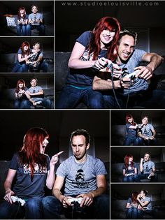 Meredith and Joe's engagement session included a few cartwheels, video games, movie memorabilia, and pets... but no explosions. (Or, at least, none that were our fault.)  Check out their video game set...