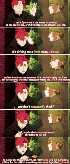 Baccano! - Vino and Rachel talking about Chane << Hahaha only a killer would think like that. I still find it sweet though :X