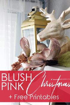Kitchen decor ideas for Christmas. Beautiful blush pink, gold and champagne decor for elegant Christmas decorating. Christmas home tour to spark ideas for creating a magical Christmas. Plus bonus free printable 'oh deer you're making me blush' sign. Elegant Christmas Decor, Magical Christmas, Simple Christmas, Christmas Home, Christmas Decorations, Joanna Gaines, Holiday Fun, Winter Holiday, Holiday Ideas