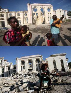 Combo de fotos del campamento de la Catedral Nuestra Señora de Notre Dame en Puerto Príncipe, tomadas el 11 de enero de 2012 (arriba) y el 16 de enero de 2010 (abajo) #Haití (foto: EFE)