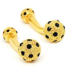 Romance Black Crystal Round Cufflinks with Gold color