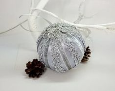 Silver Christmas decorations, Satin ornaments, Hand-crafted balls, Handmade ornaments for tree, Xmas Christmas In July, Christmas Bulbs, Christmas Cards, Holiday, Silver Christmas Decorations, Xmas Tree Decorations, Yellow Ornaments, Xmas Baubles, Handmade Ornaments