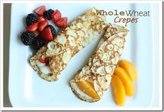 Whole Wheat Crepes. Fill with fruit and yogurt for a delicious and healthy breakfast. I love crepes! Super Healthy Kids, Healthy Meals For Kids, Healthy Snacks, Healthy Recipes, Healthy Plate, Healthy Breakfasts, Healthy Sweets, Healthy Cooking, Healthy Tips