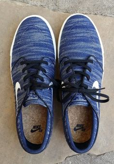 43ce848c7d NIKE SB Zoom Stefan Janoski Obsidian BLUE Ivory Skate shoes Men s 12  EXCELLENT