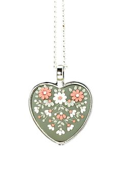 "Heart Shaped Pendant Necklace ""Dreaming"" Green Pink White Floral Jewelry Feminine Necklace Polymer Clay Applique Floral Embroidery"