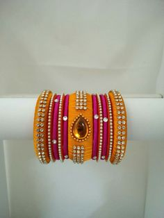 Silk Thread Earrings Designs, Silk Thread Bangles Design, Silk Bangles, Beaded Necklace Patterns, Thread Jewellery, Jewelry Patterns, Beaded Jewelry, Handmade Jewelry, Jewelry Making Tutorials