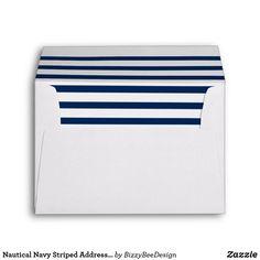 Nautical Navy Striped Address Future Mrs. & Mr. Envelope Nautical Wedding Theme, Striped Wedding, Blue Wedding, 10 Envelope, Wedding Matches, Wedding Pins, Wedding Ideas, Custom Printed Envelopes, Wedding Envelopes