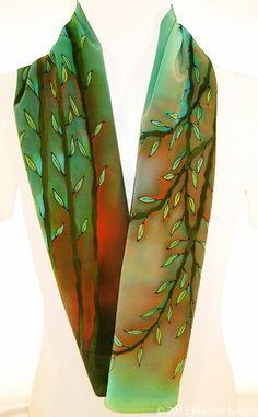 "Bamboo Silk Scarf. Large silk scarf. Handmade silk scarf. Hand-painted silk scarves.  15""  x 58"".  Free gift wrapping on Etsy, $110.00"