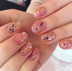 Step into Spring with this adorable dried flower gel mani.
