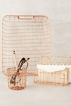 rosegold / Copper Lattice Desk Collection - anthropologie.com