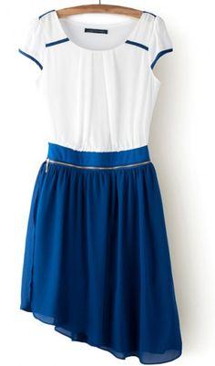 Irregular hem hit color zipper detachable  chiffon dress