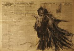 """Study for """"Losing Faith"""" - Guy Denning - conte and pastel on newsprint, 84 x 59 cm, 14th April 2014"""