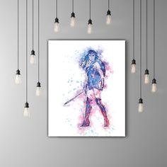 Wonder Woman Art Print Watercolor Wall Art, Comic Art, DC Superhero Girl, Justice League Art DC Comics Movie Room Decor, Wonder Woman Poster by PRINTANDPROUD on Etsy