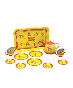 Whether cleaning up spilled ink with a garden hose or flying through the sky on the end of a kite, Curious George is one mischievous monkey. Kids will love hosting afternoon tea with this 15-piece set, outfitted with a serving tray, teapot and enough plates, saucers and cups for four of their favorite stuffed animal friends.
