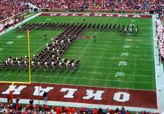"""The Fightin' Texas Aggie Band in it's iconic """"Block T"""" formation"""
