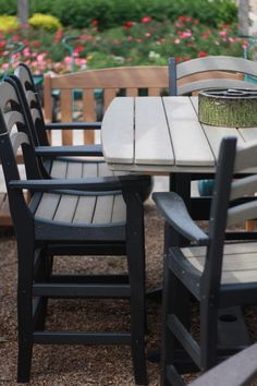 #Breezesta Recycled Poly Furniture. This patio set is made from recycled  milk jugs!