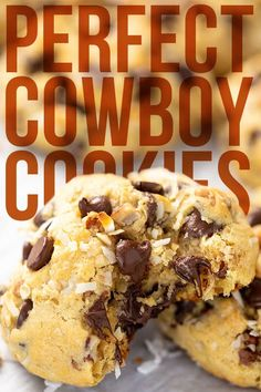 Perfect Cowboy Cookies These Cowboy Cookies taste like they came from a fancy bakery! They are thick and soft and full of nutty goodness! Brownie Cookies, Cookie Desserts, Chip Cookies, Cookie Recipes, Dessert Recipes, Cookie Bars, Cookie Swap, Homemade Desserts, Bar Cookies
