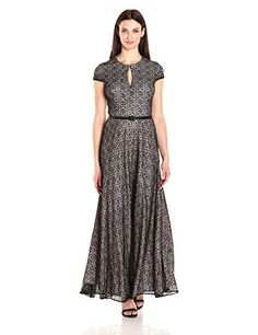 Alex Evenings Womens All Over Lace a Line Gown Black Nude 14 ** Read more reviews of the product by visiting the link on the image. (This is an affiliate link) #Lacedresses