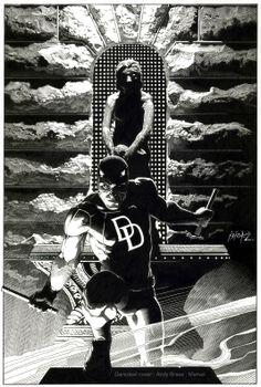 Daredevil cover:  Original Ink Version:  all traditional ink line art:  Marvel Comics: Andy Brase: https://www.facebook.com/AndyBraseArt