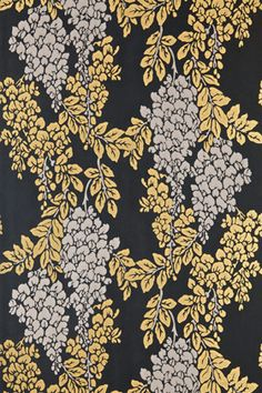 Wisteria BP 2218 - Wallpaper Patterns - Farrow & Ball shown against offblack and london clay Black Wallpaper Bedroom, Luxury Wallpaper, Paper Wallpaper, Print Wallpaper, Home Wallpaper, Designer Wallpaper, Damask Wallpaper, Farrow Ball, Free Wallpaper Samples