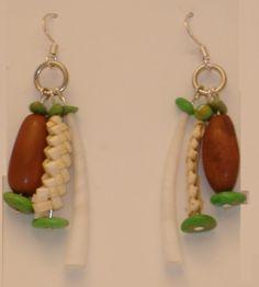 Bear Grass Braid, Dentalium Shell & Pine Nut Earrings: Native American Designed. $50.00, via Etsy.
