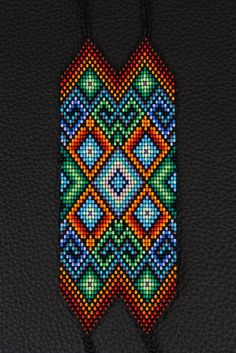 This bracelet is 41 beads wide and represents the 4 elements of life: Fire, Earth, Air & Water. It is a grounding amulet for centering and clarity. Seed Bead Patterns, Perler Patterns, Peyote Patterns, Jewelry Patterns, Beading Patterns, Bead Loom Bracelets, Woven Bracelets, Willow Weaving, Native Beadwork