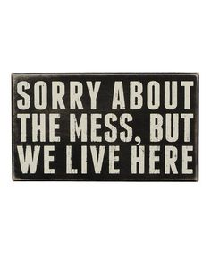 This 'We Live Here' Box Sign is perfect! #zulilyfinds