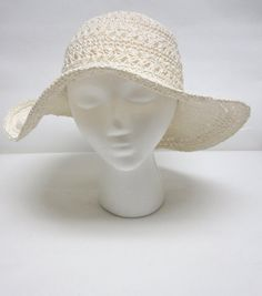 White Wide Brimmed Hat Floppy Crocheted Wedding by sweetie2sweetie