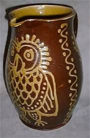 wetheriggs jug with slipware owl decoration Antique Pottery, Ceramic Pottery, Mugs And Jugs, Sgraffito, Medieval, Owl, Concepts, Ceramics, Shapes