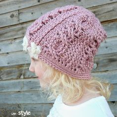 Cabled Cutie Slouch hat - FREE CROCHET PATTERN from String With Style. Sizes: Toddler - Adult