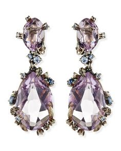 Cool Heather Marquise Large 2-Stone Amethyst Clip Earrings by Alexis Bittar Fine at Neiman Marcus.