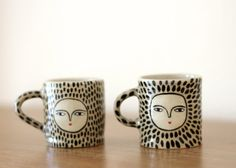 Leopard espresso cups - Ceramic one of a kind I bought her striped cups...but I want these too.